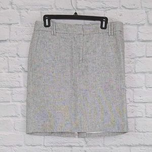 LOFT | Silver Metallic Pencil Skirt w/ Pockets